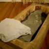 bath, wood, papa, water, charcoal.